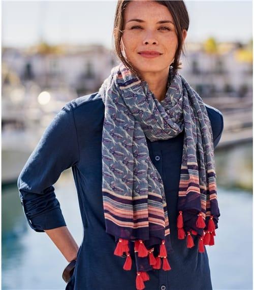 Foulard à pompons et imprimé oiseaux - Femme - Pure Laine