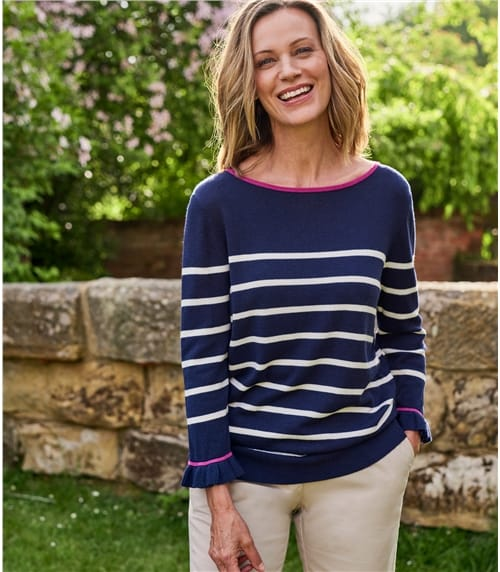Womens Cotton Blend Boat Neck Stripe With Frill Sleeve