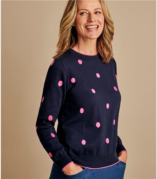 Womens Wool Blend Spot Jumper With Tipping
