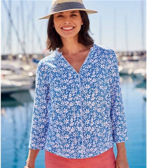 Chemise imprimée à bords festonnés - Femme - Jersey