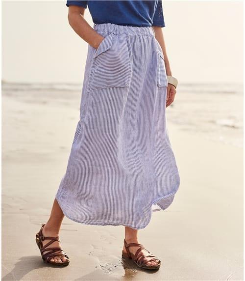 Womens Pocket Linen Skirt