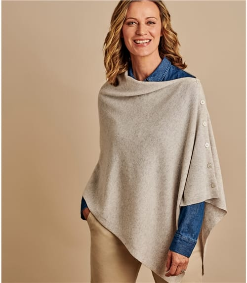 Womens Cashmere Merino Blend Button Poncho