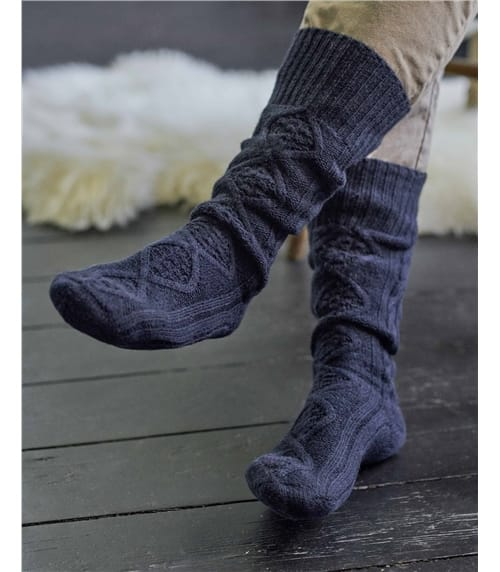 Mens Lambswool Cable Socks