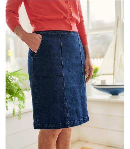 Klassischer Jeansrock mit verdeckten Taschen