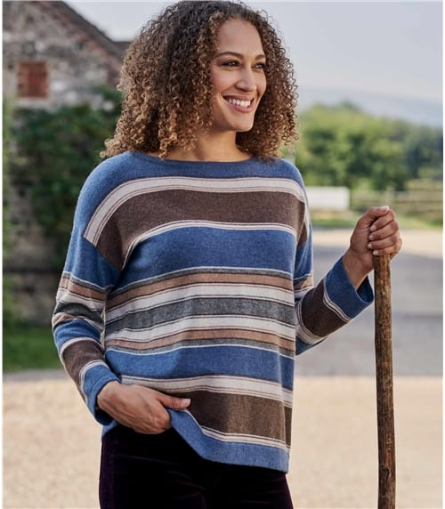 Womens Merino Wool Multi Stripe Boat Neck Jumper