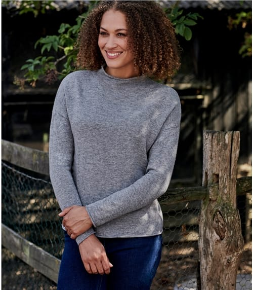 Womens Cashmere Merino Mock Neck Sweater