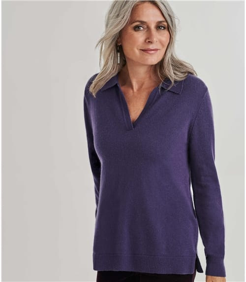 Womens Cashmere Merino Relaxed Polo Collar Top