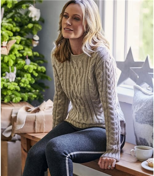 Womens Pure Wool Aran Crew Neck Jumper