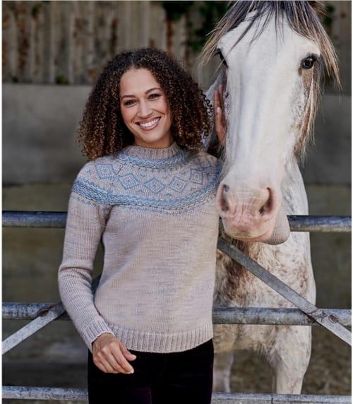 Grobmaschig gestrickter Pullover mit Fair Isle-Muster aus reiner Wolle für Damen