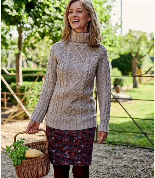 Pullover mit Aran-Zopfmuster und Rollkragen aus reiner Wolle für Damen