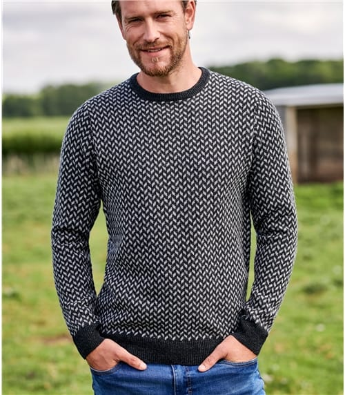 Mens Lambswool Chevron Stitch Jumper