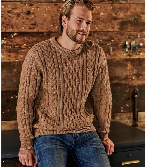 Pullover mit Aranmuster aus reiner Wolle für Herren