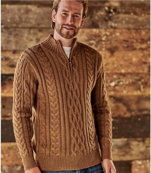 Pullover mit Aran-Zopfmuster und kurzem Reißverschluss aus reiner Wolle für Herren