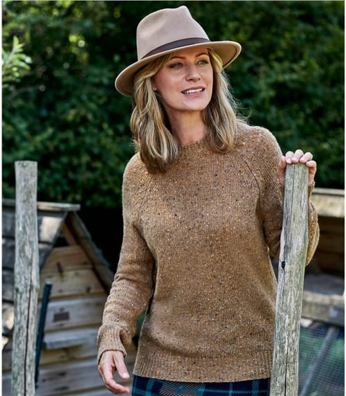 Cashmere Blend Tweedy Effect Raglan Sleeve Jumper