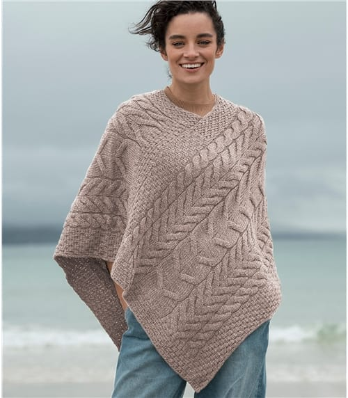 Womens Merino Super Soft Cable Poncho