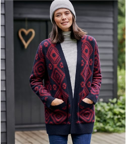 Womens All Over Aztec Open Cardigan