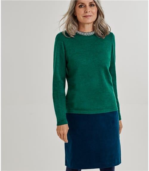 Womens Merino Embellished Neck Detail Sweater