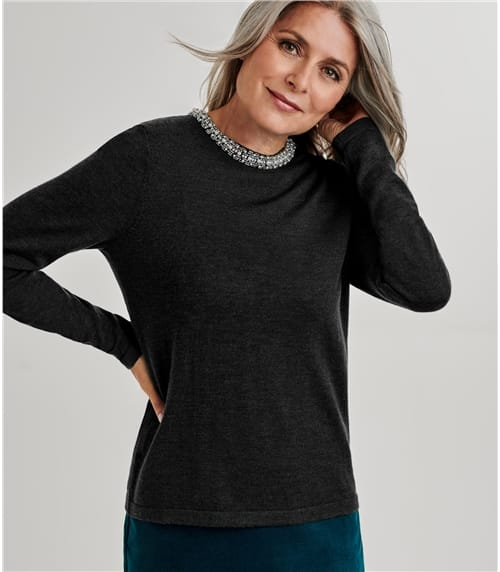 Womens Merino Embellished Neck Detail Jumper