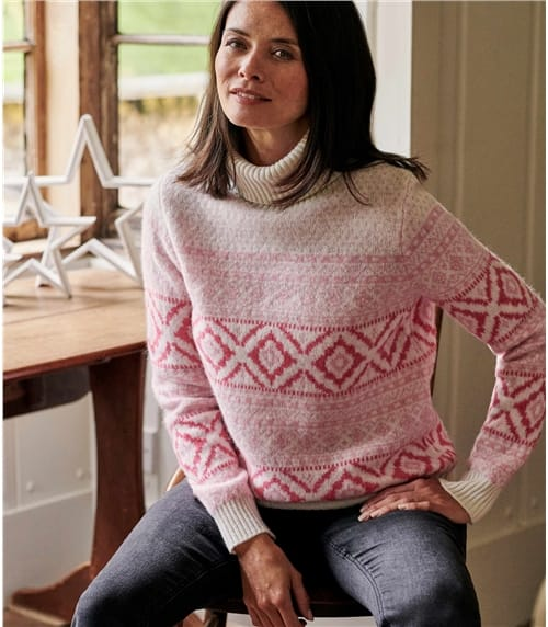 Womens Roll Neck All Over Fairisle Jumper