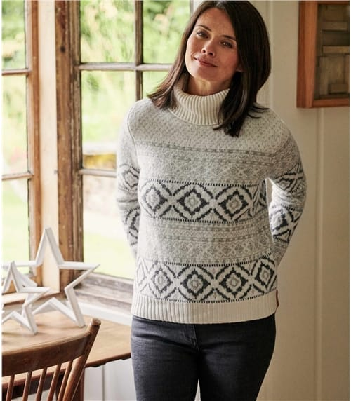 Womens Roll Neck All Over Fairisle Sweater