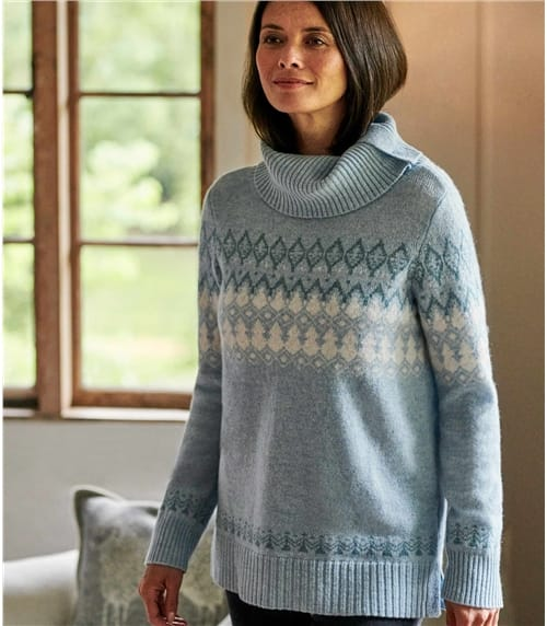 Womens Fairisle With Side Button Neck