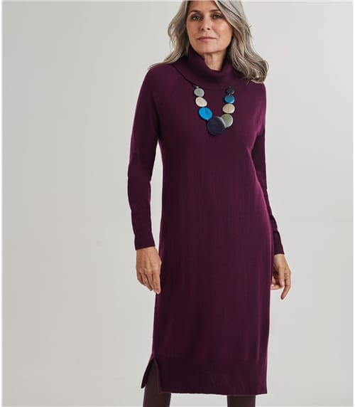 Womens Merino Roll Neck Jumper Dress