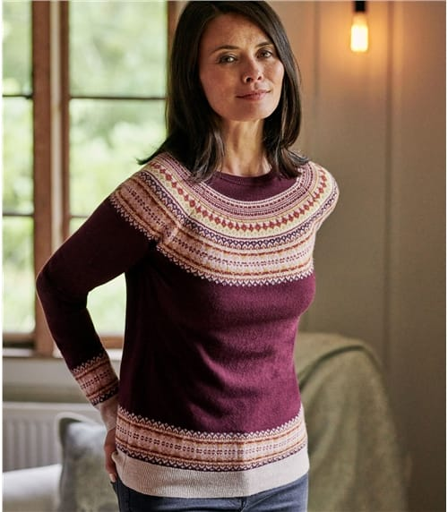 Womens Raglan Fairisle Sweater