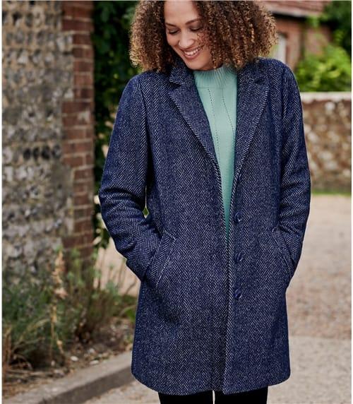 Manteau à col tailleur - Femme - Laine mélangée