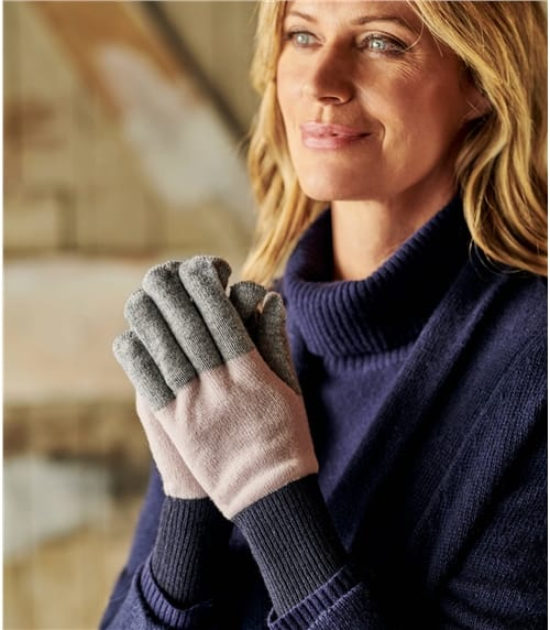 Womens Colour Block Cash Merino Gloves