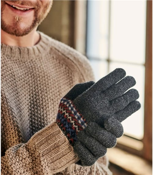 Mens Lambswool Fairisle Gloves