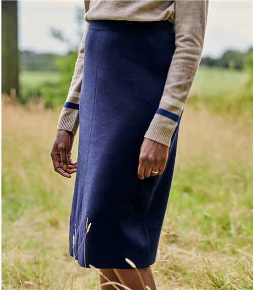 Wool Blend A Line Skirt