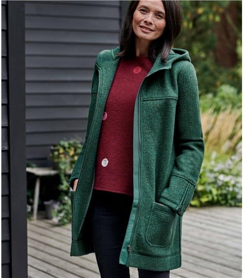Womens Boiled Wool Hooded Coat