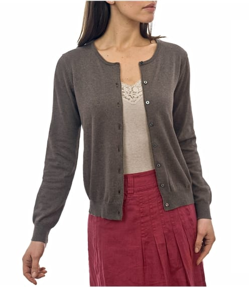 Womens Silk and Cotton Crew Neck Cardigan
