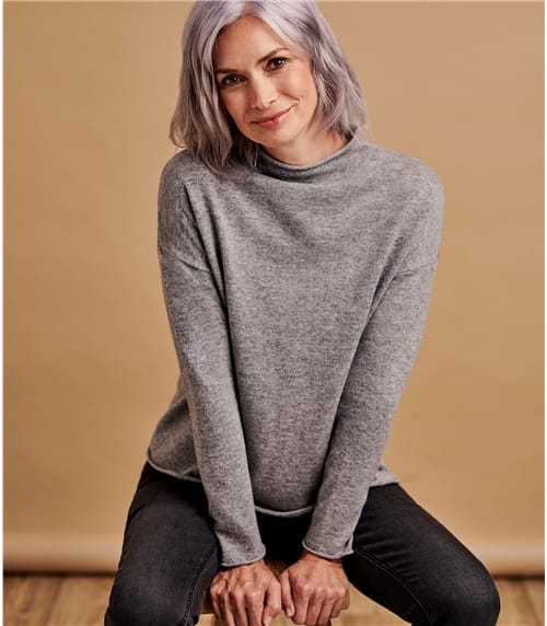 Womens Cashmere Merino Mock Neck Jumper