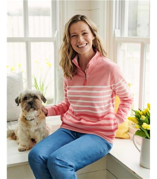 Sweatshirt aus Bio-Baumwolle mit kurzem Reißverschluss für Damen
