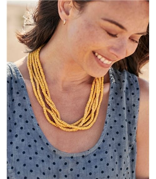 Collier rangs de perles noué - Femme - Coquille de noix de coco