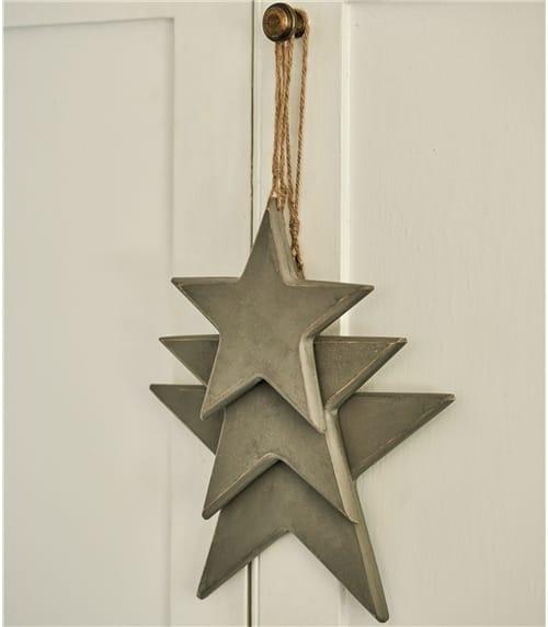 3 Hanging Wooden Stars