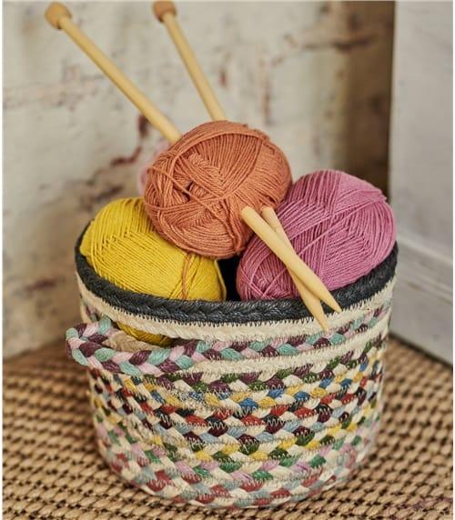 Organic Jute Multi Col Small Basket