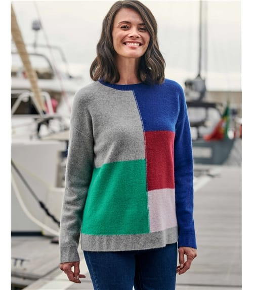 Pull à carreaux Colour Block - Femme - Pure Laine d'Agneau