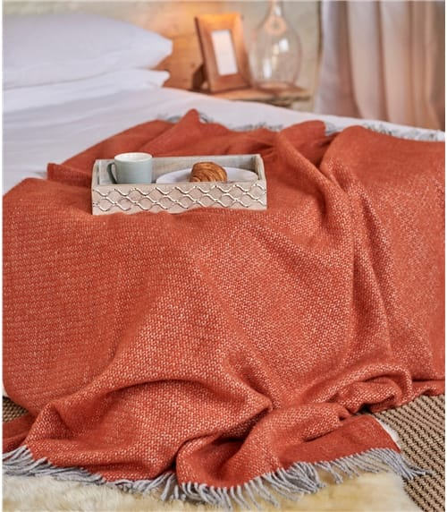 Pure Wool Illusion Knitted Throw