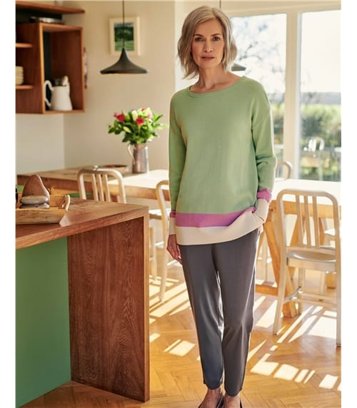Colour Block Hem Jumper