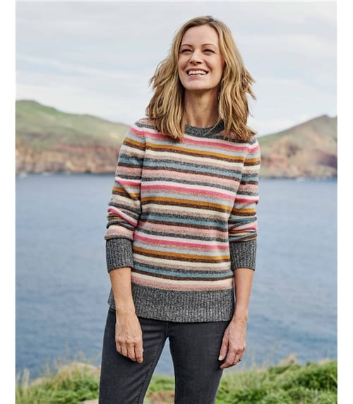 Side Button Marl Stripe Jumper