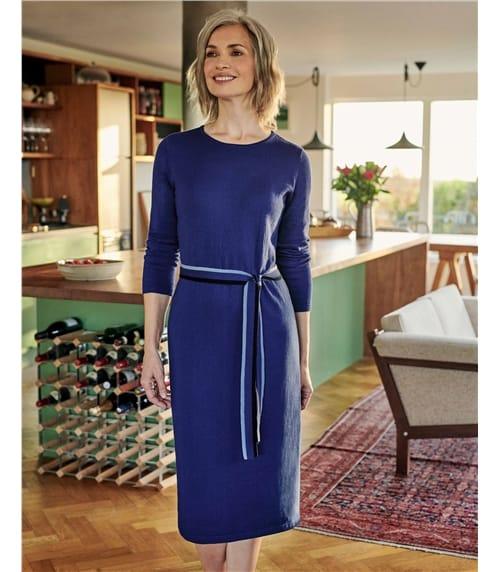 Robe avec ceinture contrastante - Femme - Laine mélangée