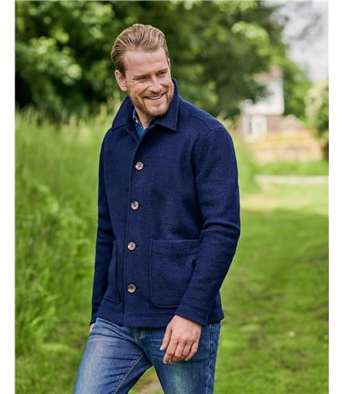 Jacke aus gekochter Wolle mit Knöpfen für Herren