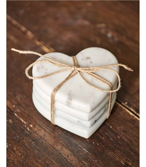 White Marble Heart 4 Pack Coasters