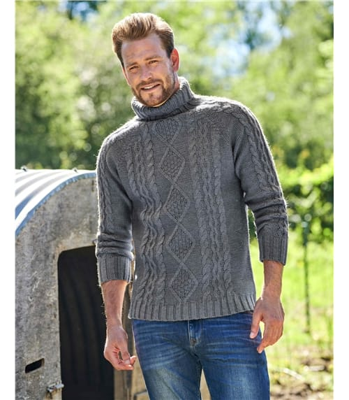 Pure Wool Knitted Aran Turtle Neck Sweater