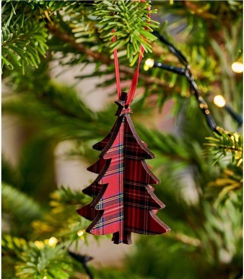 Déco sapin de Noël 3D imprimé Tartan - Maison - Bois