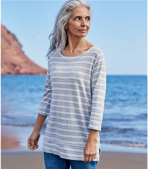 Womens Slubby Linen 3/4 Sleeve Stepped Hem Top