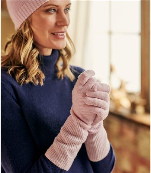 Handschuhe mit Rippbündchen aus Kaschmir für Damen