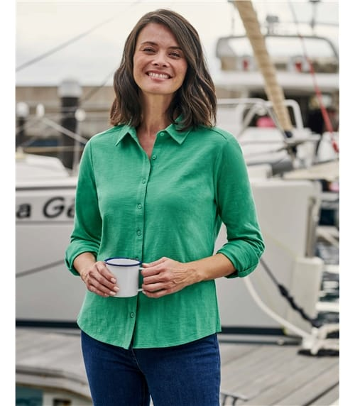 Jersey-Bluse aus Baumwolle für Damen